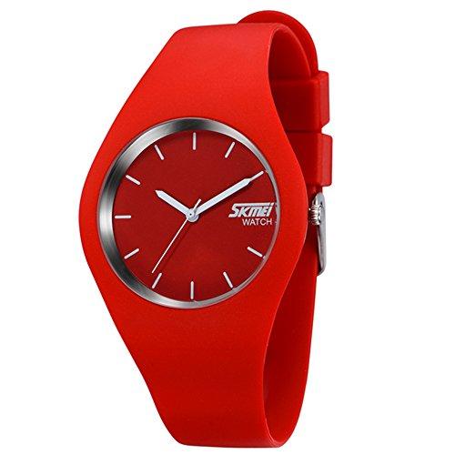Gosear Wasserdicht Männer Frauen Lässige Sport Silikon Quarz Handgelenk Uhr Armbanduhr Rote