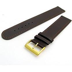 Super long Men's XXL Leather Watch Band Strap Buffalo Grain 18mm Brown Gilt (Gold Colour) buckle