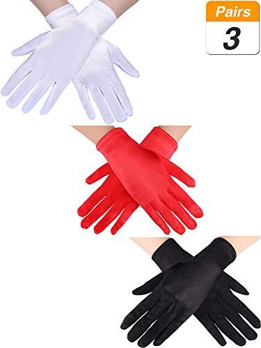 3 Pares de Guantes de Satén Cortos de Mujeres Guantes de Longitud de Pulsera Guantes de Baile Guantes de Ópera para Fiesta (Negro, Blanco y Rojo)