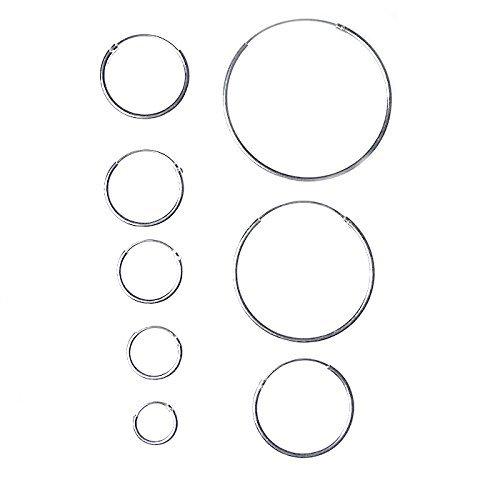 Orecchini Argento 925 Cerchio da: 8/10/12/14/16/18/20/25/30/40/50 mm (8 mm)