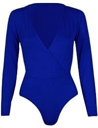 Neue Frauen Plus Size Wrap-Over-Gymnastikanzug Body Tops 36-50