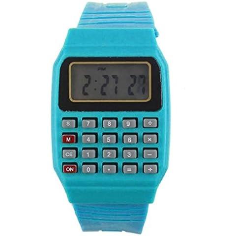 Koly Unsex silicona multiusos fecha tiempo muñeca electrónica calculadora niños reloj,Azul