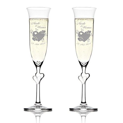 Stoelzle Lausitz Lot L Amour verres de champagne avec gravure motif - Grand Cœur avec petits cœurs et geschnoerkel