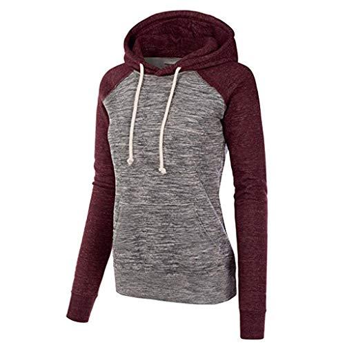TOPKEAL Hoodie Pullover Damen Herbst Winter Kapuzenpullover Sweatshirt Lässige Winterpullover Patchwork Jacke Mantel Tops Mode 2019 -