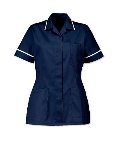 D313 - Nurses Tunic (11 Colour Choices) (112cm (Dress Size 22), Sailor Navy Piped White)