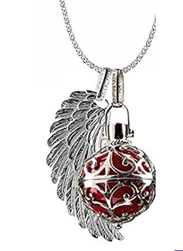 Engelsrufer Schmuck Set Silber, Kette 90 cm, Korb L, Flügel L, Kugelfarbe Rot
