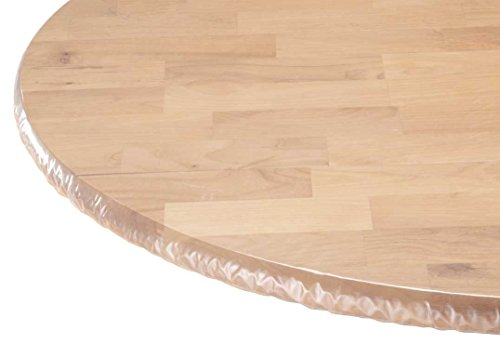 Duty CLEAR VINYL Runde Tischdecke ausgestattet (Tisch Cover) elastischer Tischdecke ideal für Schutz Ihrer Tische und Tisch Leinen, Vinyl, farblos, 42 Inches Round ()