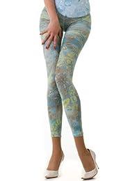 Hotlook Legging Turquoise gold Paisleymuster türkis bedruckt Fullprint allover Print