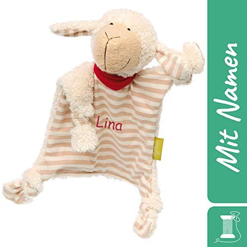 Sigikid Schnuffeltuch Schaf mit Namen Bestickt, Baby & Kinder Schmusetuch personalisiert, Kuscheltuch Geschenkidee Junge / Mädchen, Organic Green Bio, Beige, 38885
