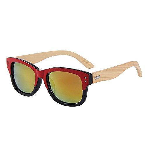 Goodvk Einfache Brille Double Colour Retro Style Unisex-Erwachsene Bambus Sonnenbrille UV-Schutz Handmade für Männer Frauen (Farbe : Rot)
