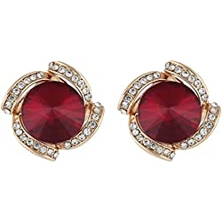 Crunchy Fashion Jewellery Gold Plated Red Crystal Stud Earrings for Women & Girls