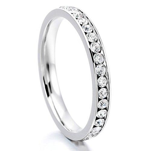 MunkiMix Acciaio Inossidabile Eternità Anello Anelli Banda Zirconia Cubica Zircone Bianco Matrimonio Dimensioni 14 Donna