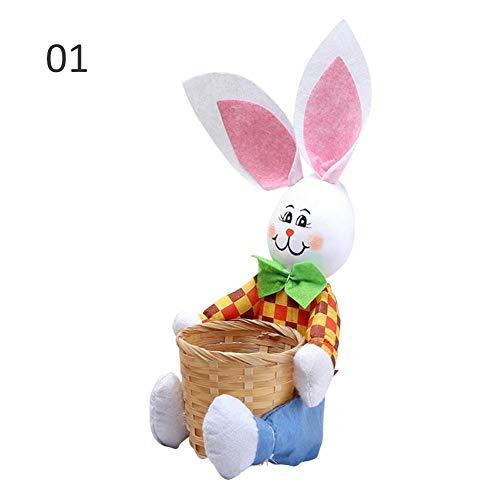 raspbery Ostern Korb Geschenk Korb mit Kreativen Niedlichen Häschen Ostern Kaninchen Korb Geschenk Süßigkeiten Ei Ablagekorb Handgefertigte Kreativität für Kinder (Ostern Korb Ei)
