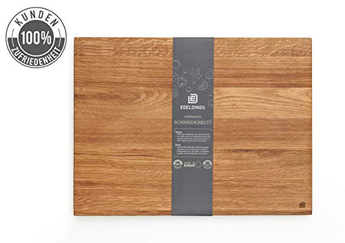 XXL Massivholz Schneidebrett aus geölter Eiche | Groß 40 х 30 cm | 12 Monate Garantie | Küchenbrett Holz aus Europa | Antibakterielles Holzschneidebrett, Holzbrett aus massivem Eichenholz für Küche