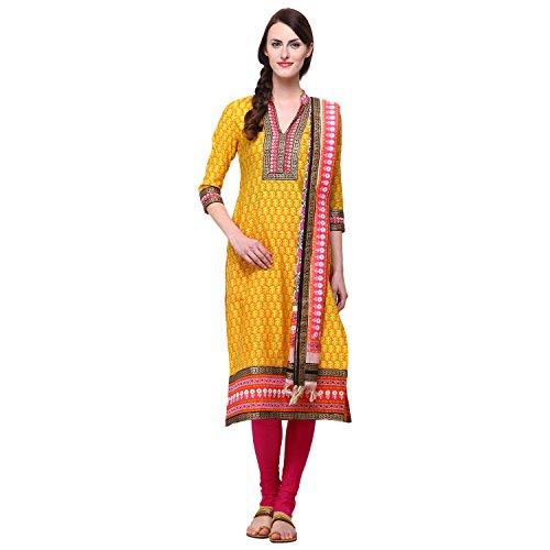 Vastrangna Yellow Cotton Silk Semi-Patiala Salwar Kameez Fabric With Chunni For Women