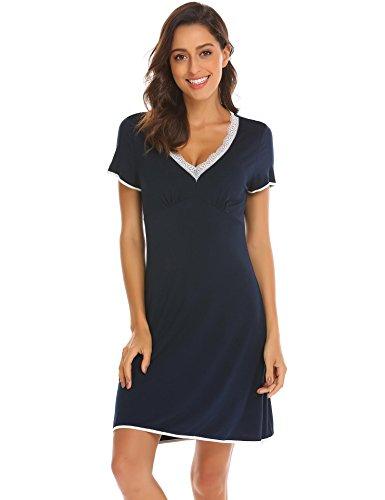 Unibelle Damen Kurzarm Sleep Chemise Nachtwäsche Nachthemdfrauen Sleep mit Spitzenbesatz (Sleep-chemise Lace Baumwolle)