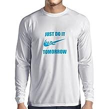 N4095L T-shirt manica lunga da uomo Just Do It Tomorrow gift