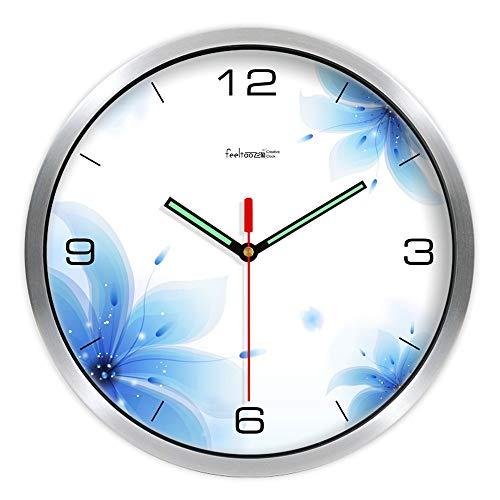 HomeClock Einfache Familie Wohnzimmer Wanduhr stumm Quarzuhr verträumte Gartenuhr aus Metall Uhr gebürstet
