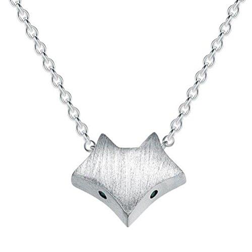 (925 Sterling Silber Halskette Smart Fuchs Anhänger Schlüsselbein Kette Temperament Schmuck Silver)