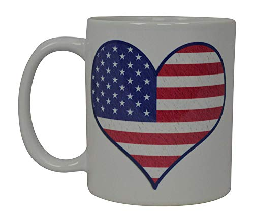 Best Coffee Mug Heart I Love USA Flag American Patriot Novelty Cup Great Gift Idea For Men Dad Father Husband Military Veteran Conservative (Heart) -