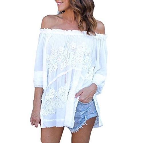 BHYDRY Frauen Langarm Schulterfrei Spitze Chiffon Bluse Casual Tops T-Shirt(L,Weiß)