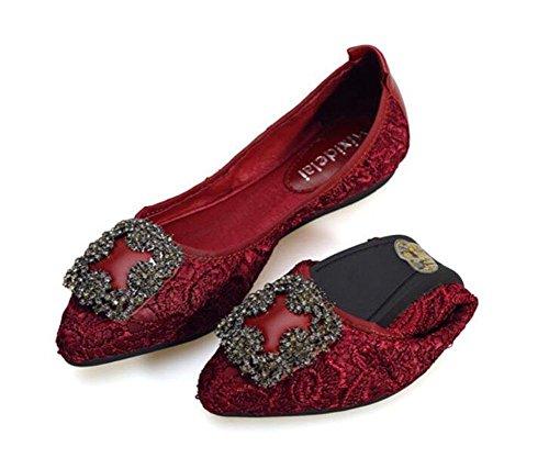 GLTER femminile cartelle Egg Fold Up Ballerina donna scarpe di cuoio in pelle Shampoo Shallow tacchi traspirante scarpe basse europei e americani pieghevoli wine red