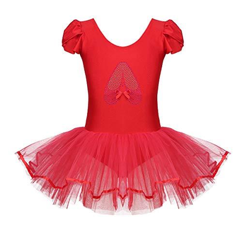 Tiaobug Kinder Ballettkleidung - 3 Modells - Mädchen Ballettkleid Kurzarm Ballettanzug mit Ballett Tutu Tütü und Innenslip Shorts Kostüm Outfit Gr.92-128 Rot 128-140