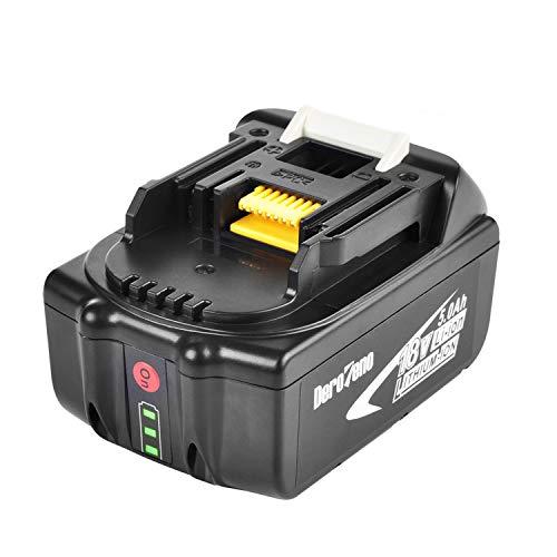 DeroTeno 18V 5,0Ah Li-ion Werkzeugakku Akku mit LED-Ladeangabe für Makita BL1850 BL1850B BL1840...