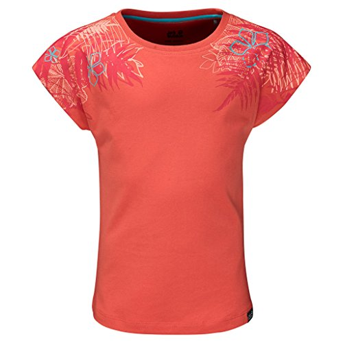 Jack Wolfskin Mädchen Orchidee T-Shirt, Mädchen, Hot Coral, Size 116 (5-6 Years Old) US -