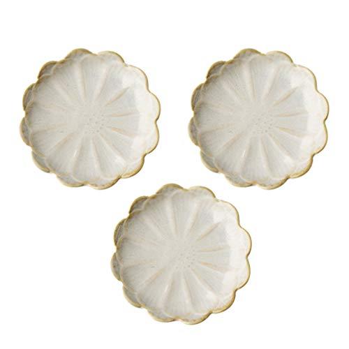 Amosfun 3 pezzi piatti in salsa di ceramica mini piatti a forma di fiore condimenti sushi ciotola di immersione piattini ciotola antipasti piatti (bianco)
