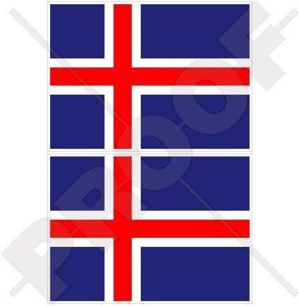 Island isländische Flagge 75mm Auto & Motorrad Aufkleber, x2 Vinyl Stickers -