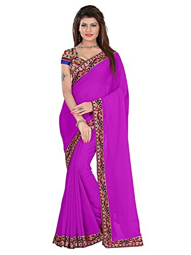 htc saree with printed lace purple colour