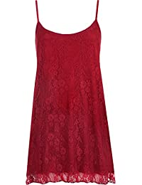 WearAll Womens Plus Size Lace Chiffon Sheer Lined Strappy Sleeveless Swing Vest 12-30