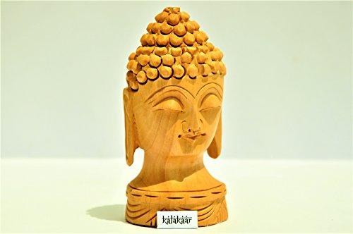 KalaKaar Handicraft Wooden Buddha Head 4 inch for Car Dashboard Idol  available at amazon for Rs.465