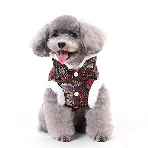PapiPet Hunde Tang-Anzug mit weißer Seite für den Winter, China Traditioneller Stil Haustier Overall Waschbar Warme Kleidung für Halloween Weihnachten Kostüm,Red2,S