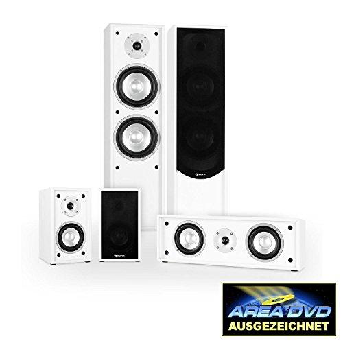 Auna Linie-300-WH 5.0 Heimkino Boxen Lautsprecher Set Soundsystem (265W RMS, 2 Standlautsprecher, 2 Regallautsprecherr, 1 Centerbox) weiß