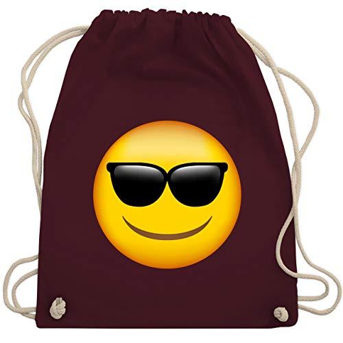 Comic Shirts - Emoji Sonnenbrille - Unisize - Bordeauxrot - WM110 - Turnbeutel und Stoffbeutel aus Bio-Baumwolle