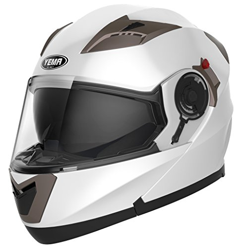 Motorradhelm Klapphelm Integralhelm Fullface Helm – Yema YM-925 Rollerhelm Sturzhelm mit Doppelvisier Sonnenblende ECE für Damen Herren Erwachsene-Weiß-XL - 2