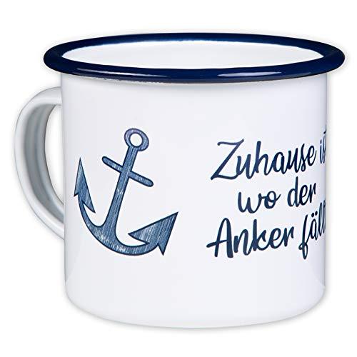 ZUHAUSE IST WO DER Anker FÄLLT - Hochwertiger Emaille Becher - mit maritimen Anker Design für Segler und Boot Liebhaber - leicht und robust - von MUGSY.de Geschirr Für Boote