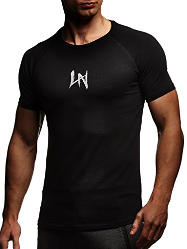 LEIF NELSON Gym Herren Fitness T-Shirt Slim Fit | Moderner Männer Bodybuilder Trainingsshirt Kurzarm Top | Herren Sport T-Shirt - Bekleidung für Bodybuilding Training | LN8041 Schwarz-Grau Large