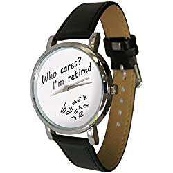 Who Cares? I'm Retired watch. Ideal retirement gift idea. Jumbled numbers, shows numbers falling off