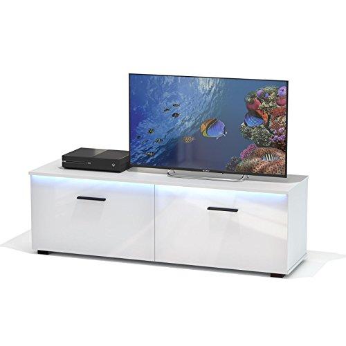 TV Lowboard Bank MALIBU in weiß hochglanz mit LED Beleuchtung, 138 cm Fernsehschrank - 2