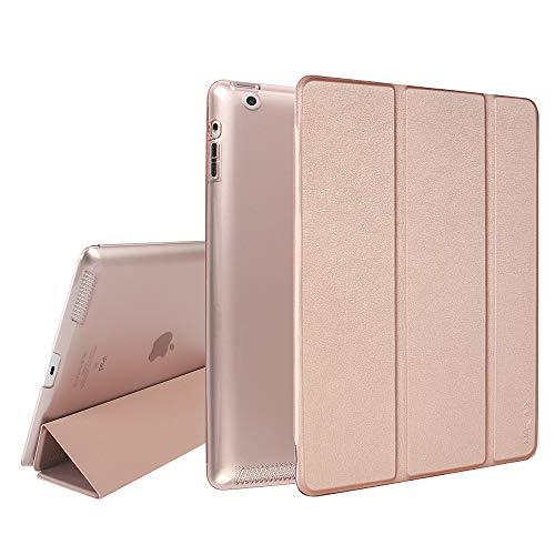 MTRONX für Apple iPad 4/3 / 2 Hülle (9,7 Zoll) (2011 2012), Magnetverschluss Auto Schlaf/Wachfunktion, Ständer Funktion Schutzhülle, Kunstleder Stand Etui Smart Cover -Roségold(FB-RG)