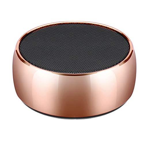 Mini tragbarer Bluetooth Lautsprecher, Drahtloser Bluetooth Lautsprecher, Stereo Bass, Stereo Bass, Eingelegte SD Karte, für Outdoor/Sport/Camping/Klettern (Roségold)