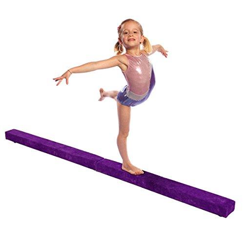 Zerone Faisceau de nastique, 7FT doux simili cuir pliante poutre d'équilibre de formation pour les enfants et accueil formation (violet)