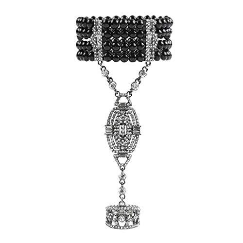 Metme der 1920er Jahre Gatsby Zubehör Imitation Perlen Strass Armband verstellbaren Ring (Vintage Inspirierte Ringe Kostüm)