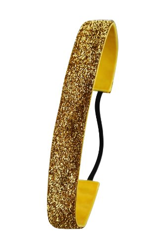 Ivybands  Das Anti-Rutsch Haarband SlimLine (1,6 cm Breite)-IVY753, Gold (Glitzer), One size, IVY519