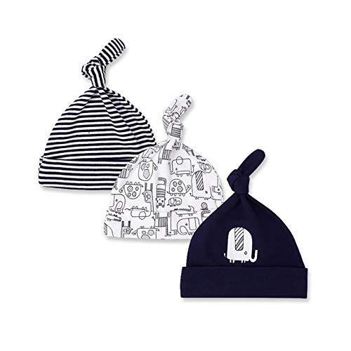 Casa 3 stücke Neugeborenes Baby Baumwolle Hut Säuglings Schlaf Beanie Hüte Einstellbare Top Knot Gedruckt Kappe für Kleinkind 0-6 Monate