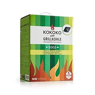 KOKOKO EGGS Grillkohle von McBrikett   10kg   Öko Kokos Grillbriketts   Ideal für Dutch Oven, Kugelgrill, Weber & Watersmoker