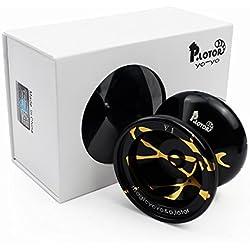 Yoyo, P.LOTOR Aleación de Aluminio Profesional del Yoyós de la Bola con el Paquete de Regalo de la Navidad Para los Niños (Negro con Salpicaduras de Oro)